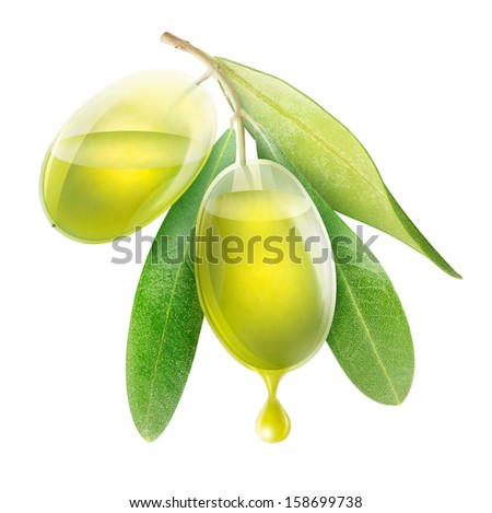Two transparent olives with drop of oil isolated on white - stock photo