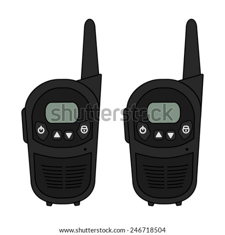 Two travel black portable mobile raster radio set devices. Color illustration isolated on white - stock photo
