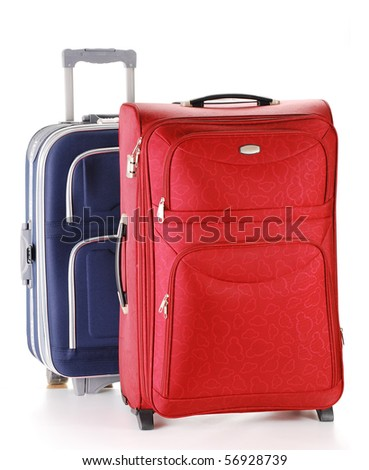 Two travel suitcases isolated on white