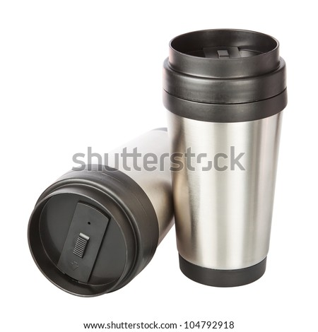 Two travel thermos-cup. Closeup. - stock photo