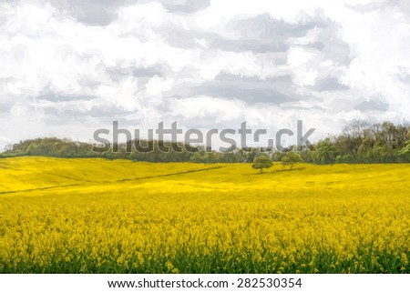 Two Trees stand in the middle of a beautiful Rapeseed field - stock photo