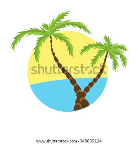 Two tropical palms on island with sea. logo.