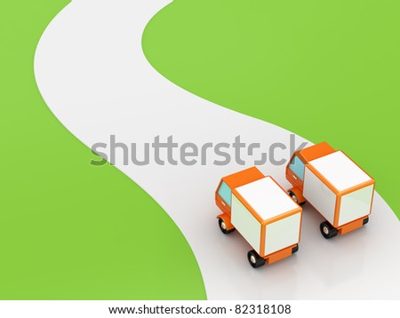 Two trucks on the beginning of the road.  3D rendered. Isolated on white background. - stock photo