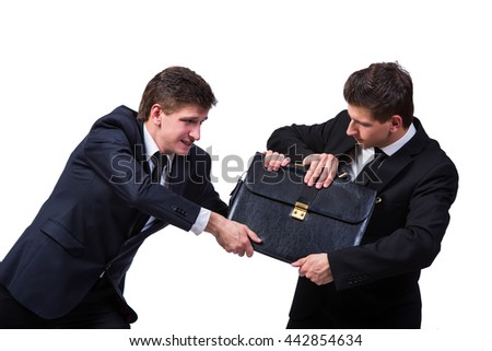 Two twins businessmen arguing with each other isolated on white - stock photo