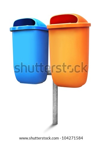 Two type of public trash can isolated on white background - stock photo