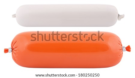 two types of salami isolated - stock photo