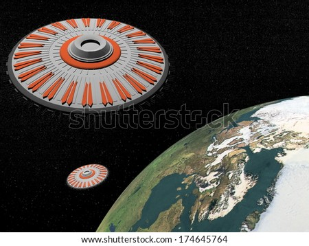 Two ufos in the universe next to earth planet - Elements of this image furnished by NASA - stock photo