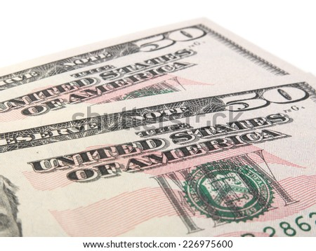 Two 50 US dollar notes. All on white background.