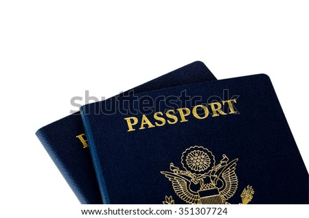 two us passports on a white background - stock photo
