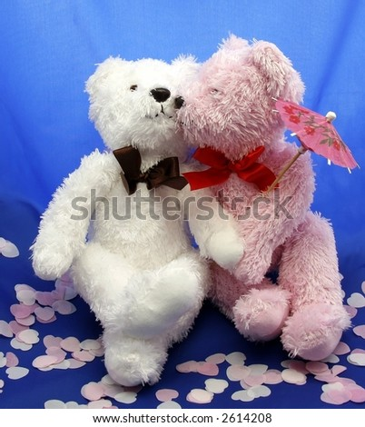 two valentine teddy bears