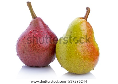 Two varieties of pears isolated on white background
