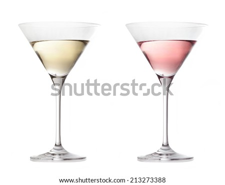 two various glasses of martini isolated on a white background - stock photo