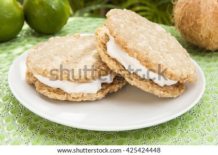 Two vegan coconut lime ice cream sandwiches served outdoors