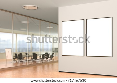 Two vertical blank posters on the wall in modern office. 3d illustration