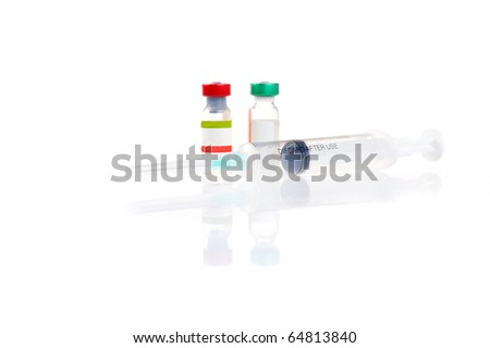 two vial with medicine and syringe - stock photo