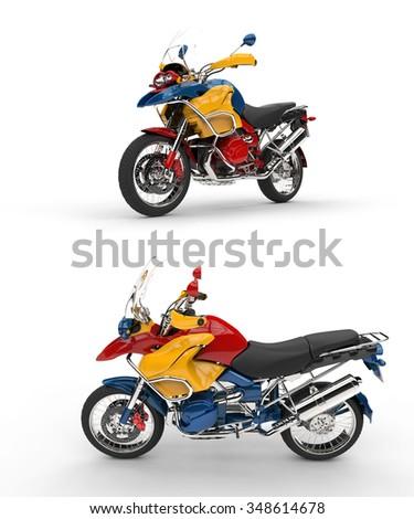 Two Vibrant Race Bikes - stock photo