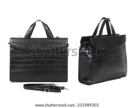 two views of black briefcase on white background