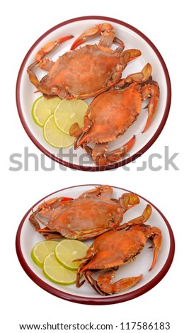 two views of steam crabs on dish