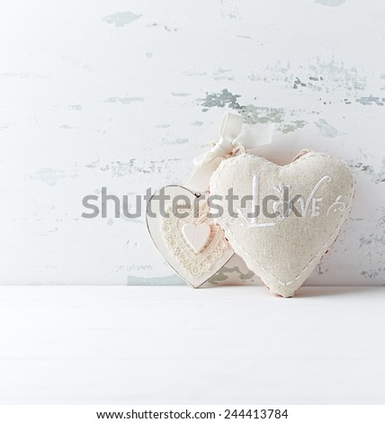 Two vintage hearts  (decoration for Valentine's Day) - stock photo