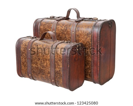 Two Vintage Suitcases Isolated with clipping path on a white background - stock photo