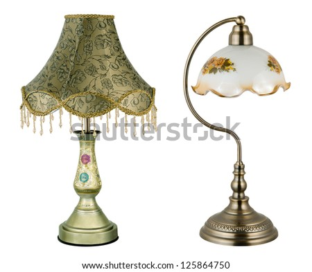 two vintage table lamps - stock photo