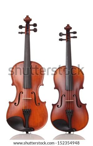 Two Violins on white background - stock photo