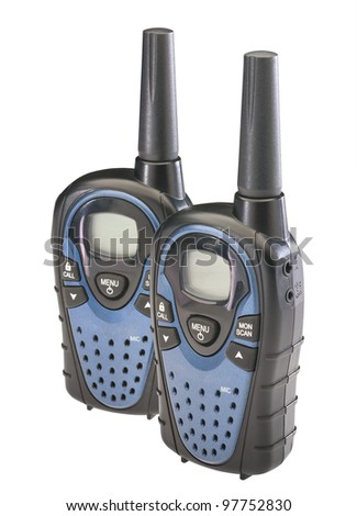 Two walkie talkies isolated on a white background with clipping path