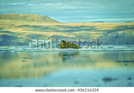 Two walrus on ice floe,Ellesmere Island,Canadian High Arctic. Watercoior digital painting