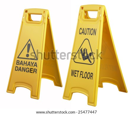 two warning sign side by side on white background - stock photo