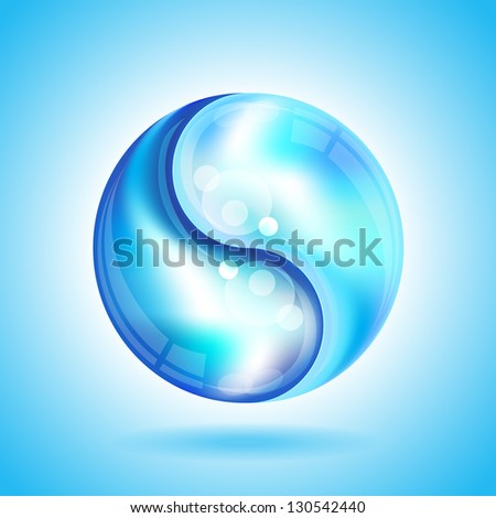 Two water drops forming the shape of a Yin Yang. Also available in vector format. - stock photo