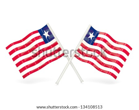 Two wavy flags of liberia isolated on white