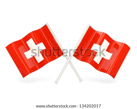 Two wavy flags of switzerland isolated on white