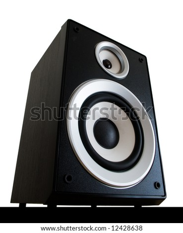 two way black audio speaker isolated on white background - stock photo