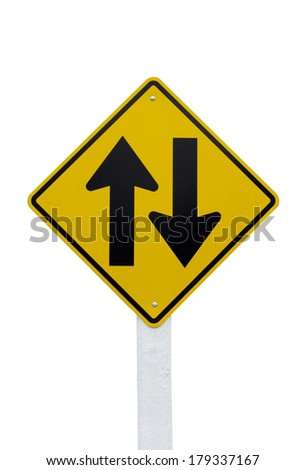 Two way traffic sign isolated on white