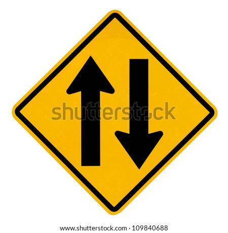 Two way traffic sign on white background - stock photo