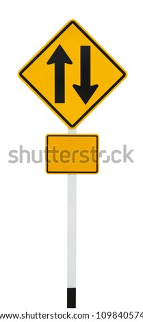 Two way traffic sign on white with clipping path - stock photo