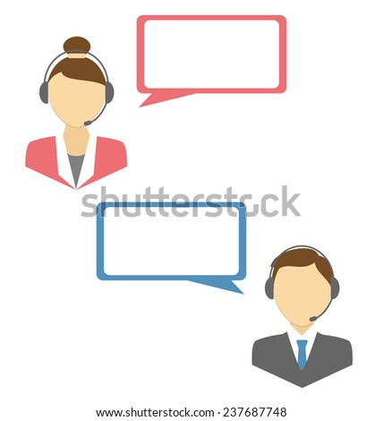 Two web consultants with headphones and blank spaces for text isolated on white background - stock photo