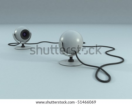 Two Webcams Talking - stock photo