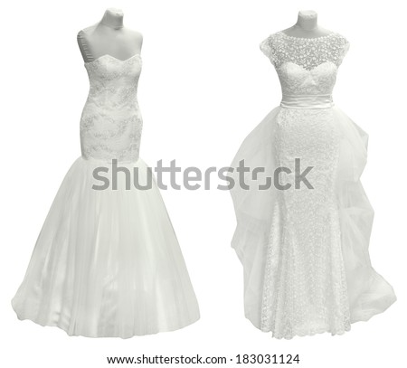 Two Wedding Dress Isolated with Clipping Path - stock photo