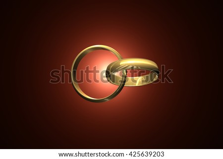 Two wedding ring on a dark art background. 3D-image. 3D illustration rendering.