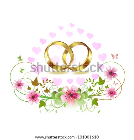 Two wedding ring with hearts and decorated flowers - stock photo
