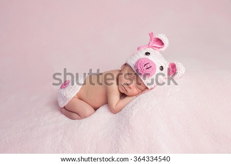 Two week old newborn baby girl wearing a pink, crocheted, piglet costume. She is sleeping on a soft, fuzzy, pink blanket.