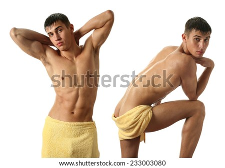 Two wet sexy men wrapped in towels isolated on white - stock photo