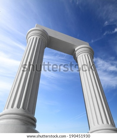 Two white ancient marble pillars with blue sky - stock photo