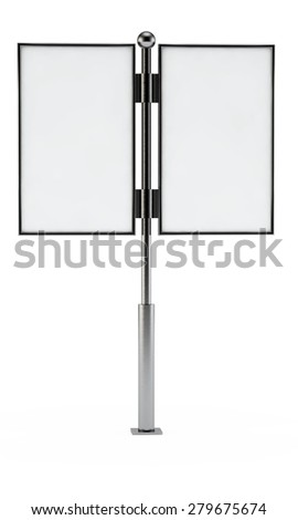 two white billboards with a blank space for your design on a column - stock photo