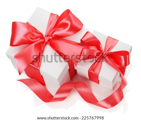 Two white boxes tied red ribbon bow isolated on the white background