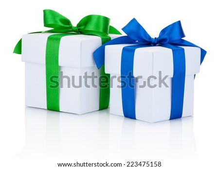 Two White boxs tied blue and green ribbons bow Isolated on white background - stock photo