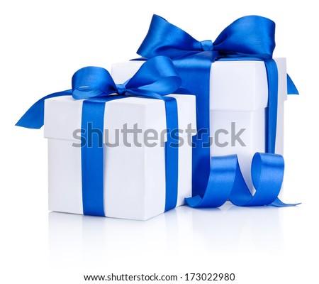 Two White boxs tied Blue satin ribbon bow Isolated on white background - stock photo
