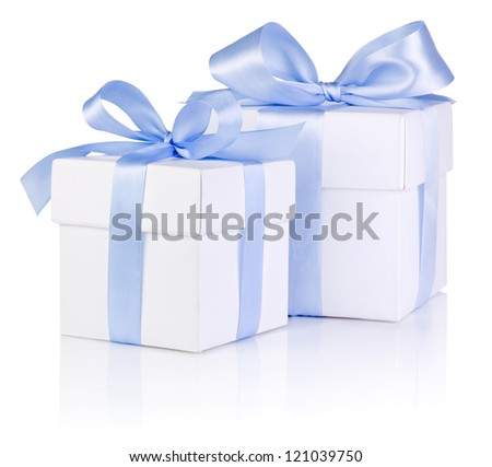 Two White boxs tied with a Blue satin ribbon bow Isolated on white background