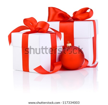Two White boxs tied with a red satin ribbon bow and christmas ball Isolated on white background